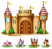 stock photo of castle  - Illustration of a set of castles - JPG