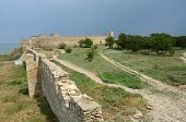 pic of fortified wall  - View of fortified wall and watchtower of middle stronghold in old turkish fortress Akkerman, unesco heritage site, Belgorod-Dnestrovsky Ukraine