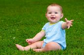 picture of infant  - Summer portrait of happy baby boy infant outdoors at park - JPG