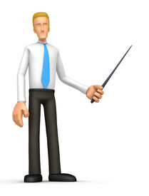 stock photo of fescue  - 3d character leads a presentation - JPG