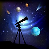 stock photo of comet  - Space background with telescope planets comets and stars vector illustration - JPG
