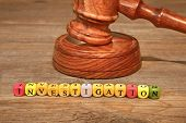picture of investigation  - Sign INVESTIGATION and Gavel on Wooden Table - JPG