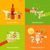 stock photo of alcoholic beverage  - Alcohol cocktails icons flat set with drinks party menu summer isolated vector illustration - JPG