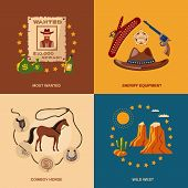 picture of wild west  - Wild west cowboy flat icons set with most wanted sheriff equipment horse isolated vector illustration - JPG