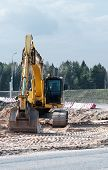 pic of boom-truck  - Photo of hydraulic crawler excavator on the construction site - JPG