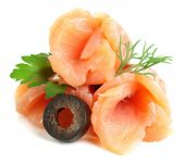 pic of olive shaped  - Sliced and rolled salmon - JPG
