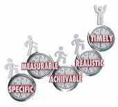 foto of achievement  - SMART acronym or abbreviation on clocks to illustrate goals or objectives that are specific - JPG