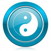 foto of ying-yang  - ying yang blue icon   - JPG