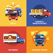 picture of food truck  - Truck icons flat set with logistics radioactive materials food international transport isolated vector illustration - JPG