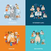 stock photo of veterinary  - Veterinary flat set with cat and dog hospital medicine clinic isolated vector illustration - JPG