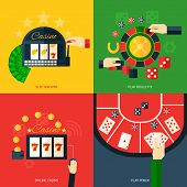 foto of poker machine  - Casino design concept set with slot machine play roulette online poker icon flat isolated vector illustration - JPG