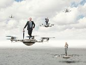 foto of drone  - 3d image of futuristic drone and business people - JPG