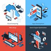 foto of computer  - Computer and web design concept set with cloud computing apps development search engine optimization isometric icons vector illustration - JPG