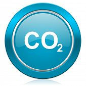 image of carbon-dioxide  - carbon dioxide blue icon co2 sign  - JPG