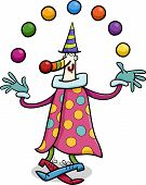 picture of circus clown  - Cartoon Illustration of Funny Clown Circus Performer Juggling Balls - JPG