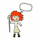 image of spears  - cartoon woman with spear with speech bubble - JPG