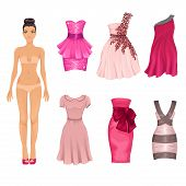 Vector Dress-up Doll With  Pink Dresses poster