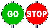 image of traffic sign  - The go green traffic sign with a red stop traffic sign isolated over a white background - JPG