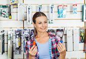 stock photo of hardware  - Beautiful customer comparing screwdrivers in hardware store - JPG