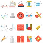 stock photo of ripper  - Set of colorful flat vector icons for sewing or handmade items and tools on white background - JPG