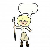 stock photo of spears  - cartoon woman with spear - JPG