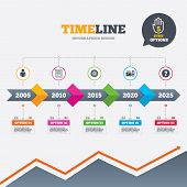 picture of cogwheel  - Timeline infographic with arrows - JPG