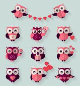 stock photo of owls  - Happy Valentine - JPG