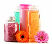 foto of plastic bottle  - Composition with plastic bottles of body care and beauty products - JPG