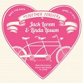 pic of tandem bicycle  - Vintage wedding invitation together forever with illustration of tandem bicycle over white background - JPG
