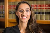 image of laws-of-attraction  - Pretty lawyer in the law library at the university - JPG