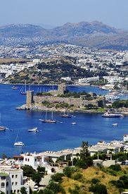 picture of gumbet  - View of Bodrum harbor during hot summer day. Turkish Riviera. ** Note: Soft Focus at 100%, best at smaller sizes - JPG