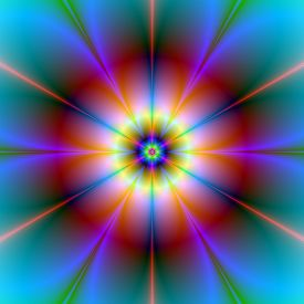 image of six-petaled  - A digital abstract fractal image with a six petal flower design in red blue yellow and turquoise - JPG
