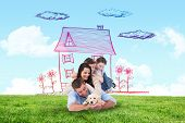 pic of puppies mother dog  - Happy family with puppy against blue sky over green field - JPG