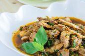 foto of thai cuisine  - Thai cuisine spicy pork salad - JPG