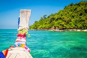 image of koh phi-phi  - Traditional wooden boat in a picture on Koh Phi Phi Island Thailand Asia - JPG