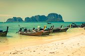 picture of phi phi  - Thai traditional boats on Phi - JPG