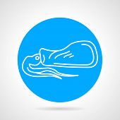 pic of squid  - Round blue vector icon with white line squid a side view for seafood menu on gray background - JPG