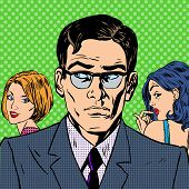 picture of adultery  - A man chooses between two women relationships love emotion pop art comics retro style Halftone - JPG