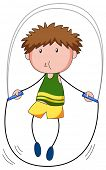 picture of skipping rope  - Close up boy skipping on a jump rope - JPG