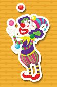 picture of juggling  - Clown juggling balls with yellow background - JPG