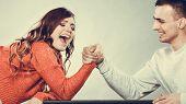 stock photo of wrestling  - Partnership relationship concept - JPG