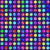 foto of gem  - Hexagonal gems in random rainbow colors - JPG