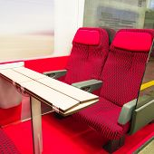 image of railroad car  - red modern seats of a railroad car - JPG