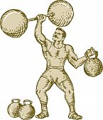 image of strongman  - Etching engraving handmade style illustration of a strongman circus performer lifting barbell on one hand and kettlebell on the other hand set on isolated white background - JPG