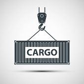 picture of crane hook  - Crane lifts a container with cargo - JPG