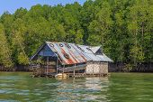 foto of floating  - Float fishing village on tropical river with trees on background in Krabi province of Thailand - JPG