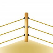 image of boxing ring  - Boxing ring with brown ropes on white background - JPG