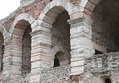 picture of arena  - detail of the exterior walls of the ancient Roman Arena in Verona in Italy - JPG