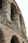 stock photo of arena  - detail of the exterior walls of the ancient Roman Arena in Verona city - JPG
