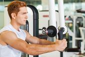 image of concentration man  - Concentrated young and sporty man working out in gym - JPG